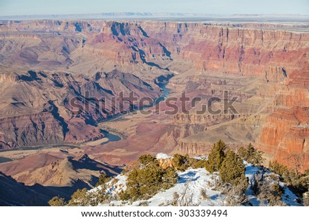 View of Colorado River in winter at Grand Canyon, Arizona. - stock photo