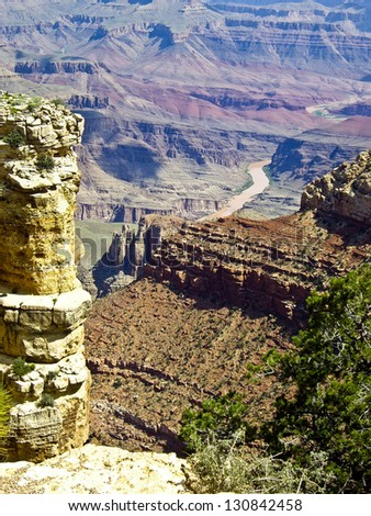 View of Colorado River on floor of Grand Canyon Arizona - stock photo