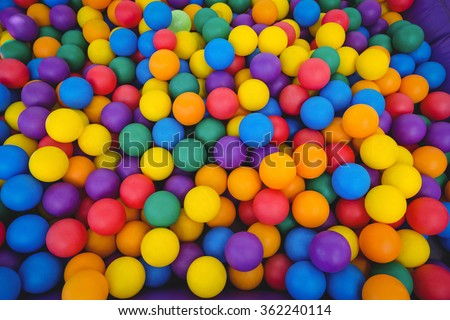 View of colored sponge balls - stock photo