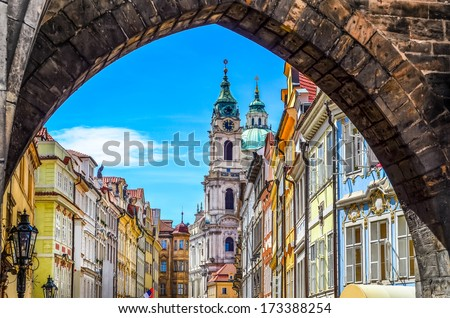 View of colorful old town in Prague taken from Charles bridge, Czech Republic - stock photo