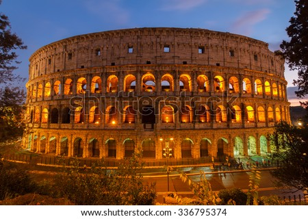 view of Colosseum at night  in Rome, Italy