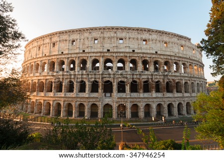 view of Colosseum building in Rome, Italy