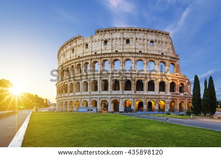 View of Colosseum in Rome at sunrise, Italy, Europe. - stock photo