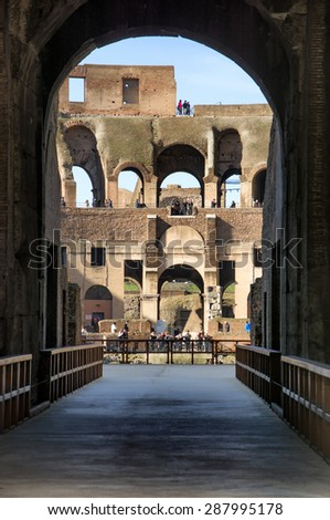 View of Colosseum in Rome, Italy during the day. Detail of the interior architecture - stock photo