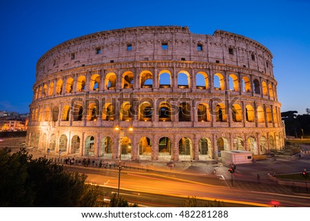 View of Colosseum is an oval in the centre of the city of Rome, ITALY