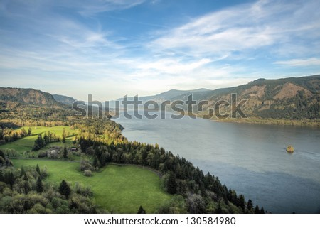 View of Columbia River Gorge in the Pacific Northwest - stock photo