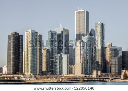 View of commercial building over the lake in Chicago - stock photo