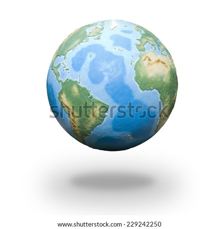 View of concrete model of Earth globe - Atlantic Ocean - stock photo