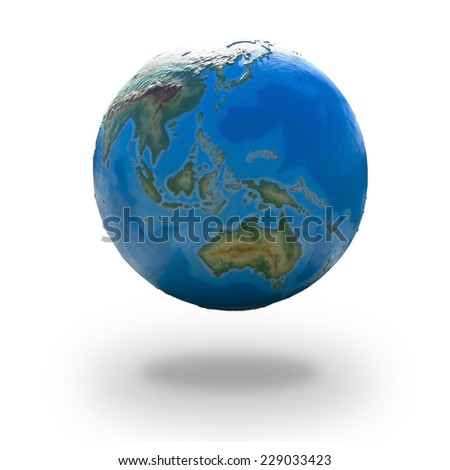 View of concrete model of Earth globe - eastern hemisphere