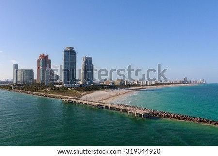 View of condo towers and the beach at South Beach, FL, USA. - stock photo