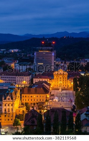 View of Congress square and Star park by Ljubljana university from the Ljubljana castle tower in the dusk just after the sunset, Ljubljana, Slovenia