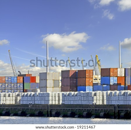 View of containters in a harbour