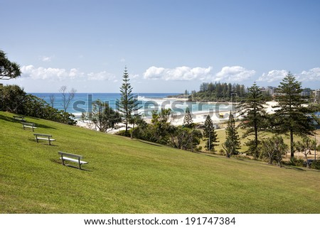 View of Coolangatta beach and Snapper Rocks from Kirra Point Lookout, Gold Coast - stock photo