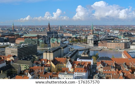 View of Copenhagen from the spire of church of Our Saviour, Denmark - stock photo