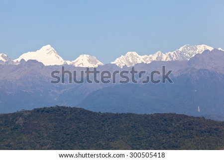 """view of """"Cordillera Blanca"""" from Machu Picchu, was designed Peruvian Historical Sanctuary in 1981 and a World Heritage Site by UNESCO in 1983. - stock photo"""