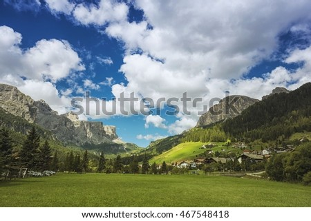 view of corvara, Dolomites Mountains, South Tyrol, Italy