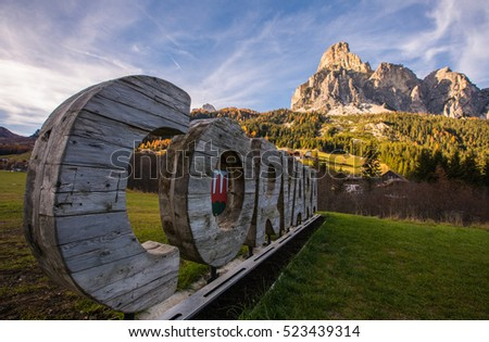 View of corvara village, Dolomites Mountains, South Tyrol, Italy