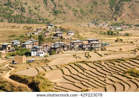 View of countryside and agricultural land in rural Bhutan.