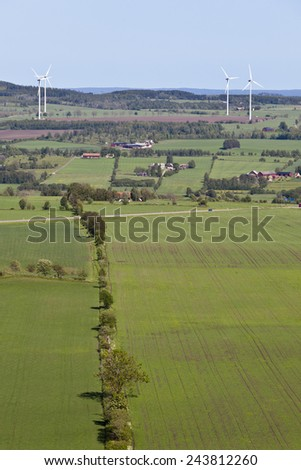 view of countryside landscapes with windmill - stock photo