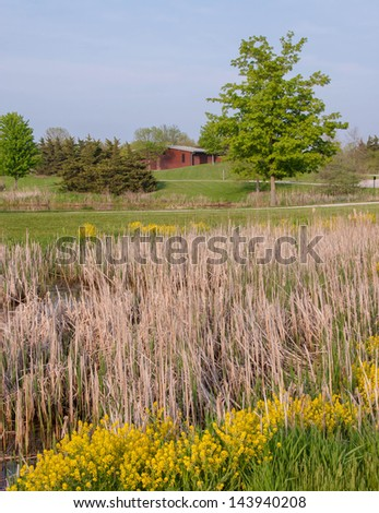 View of countryside prairie with walking trail and native grass - stock photo