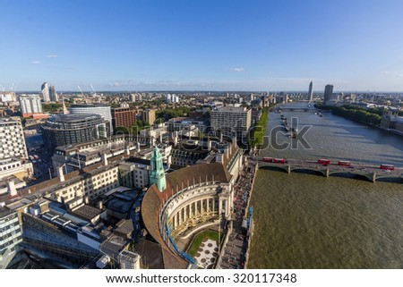 View of County Hall and Westminster Bridge from London eye in London, UK  - stock photo