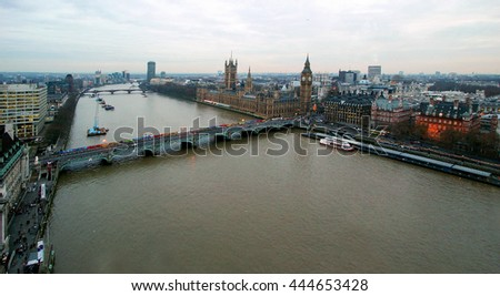 View of County Hall and Westminster Bridge from London eye in London, UK