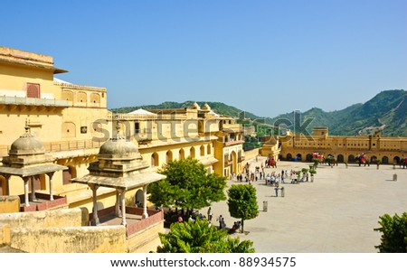 View of courtyard in Amber Fort in Jaipur, India