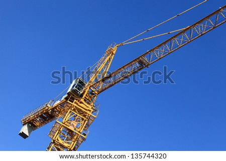 View of crane on the sky background - stock photo