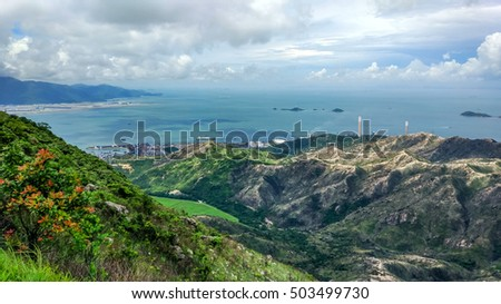 View of Crescent Valley from Catle Peak in Tuen Mun, Hong Kong