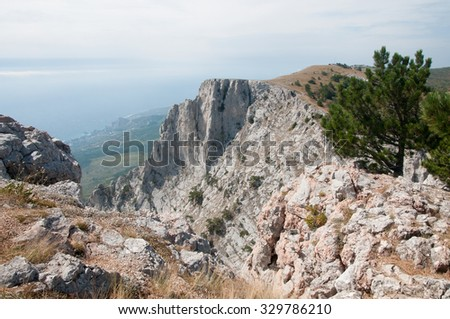 View of Crimea from the top of 1234-metre high Ai-Petri mountain - stock photo