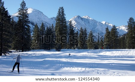 View of cross country ski trail, with a winter mountain background.