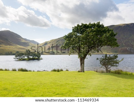 View of Crummock Water past trees and island in English Lake District - stock photo