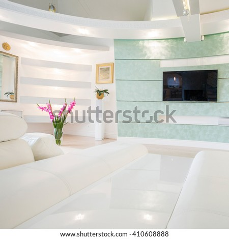 View of crystal and bright tv room - stock photo