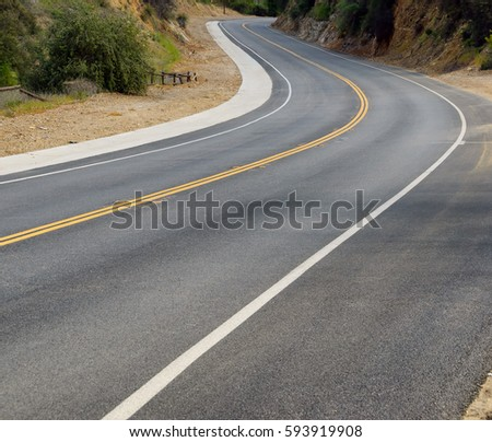 View of curve on famous Mulholland Highway in Southern California