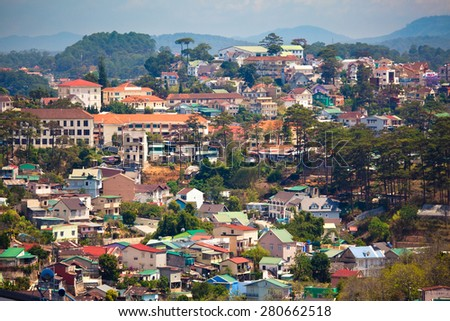 View of Dalat city from the hill - stock photo