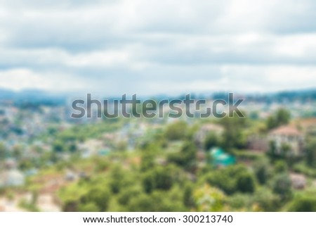 View of Dalat City, Vietnam with blue sky and clouds on a sunny day - stock photo