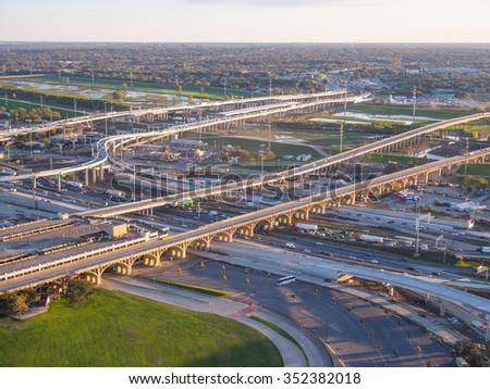 View of Dallas downtown freeways and streets from observation deck on Reunion tower - stock photo