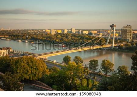 View of Danube River and SNP Bridge in Bratislava, Slovakia - stock photo