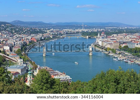 View of Danube with Szechenyi Chain Bridge and Hungarian Parliament Building from Gellert Hill in Budapest, Hungary - stock photo