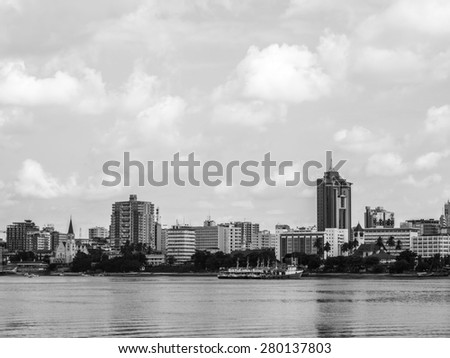 View of Dar es Salaam, Tanzania in East Africa, seen from the sea.