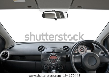 view of dashboard  a car on white - stock photo