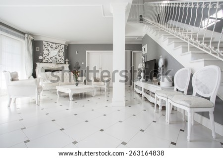 View of designed interior of expensive residence - stock photo
