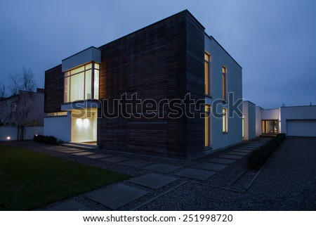 View of designed residence in the evening - stock photo