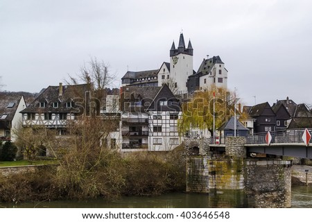 view of Diez with castle from Lahn river, Germany