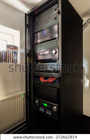 View of digital controls at home cinema - stock photo