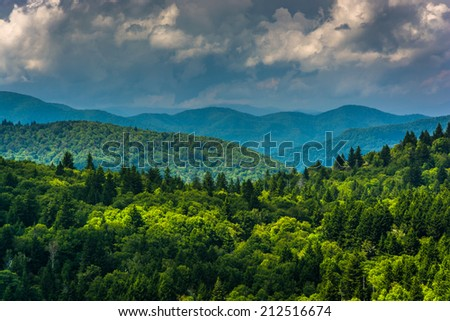 View of distant mountains from Devils Courthouse, near the Blue Ridge Parkway in North Carolina.