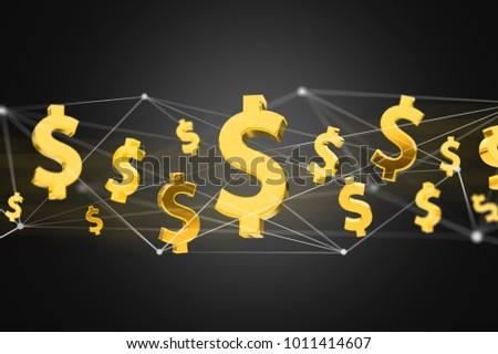 VIew of Dollar sign flying around a network connection - 3d render