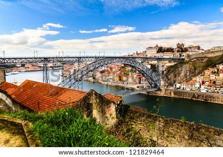 view of Dom Luis I bridge at Porto, Portugal - stock photo