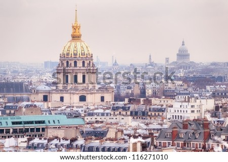 View of Dome des Invalides, burial site of Napoleon Bonaparte, Paris, France, on winter morning - stock photo