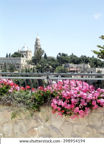 View of  Dormition Abbey in Jerusalem, Israel - stock photo